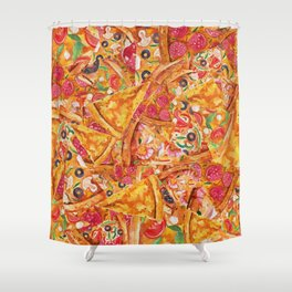 All About Pizza Shower Curtain
