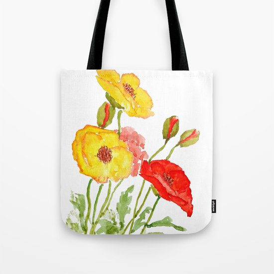 red and yellow  poppies Tote Bag
