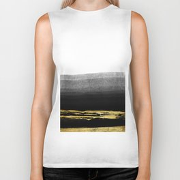 Black & Gold Stripes on White- Mix & Match with Simplicty of life Biker Tank