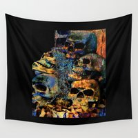 skulls Wall Tapestries featuring Skulls By Annie Zeno by Annie Zeno
