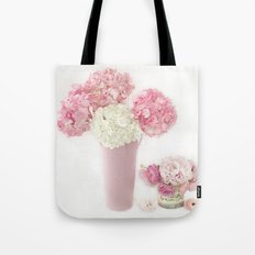 Shabby Chic Pink and White Hydrangeas Floral Print Home Decor Tote Bag
