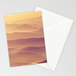 Sunset Rolling Foggy Hills Landscape Photograph Stationery Cards
