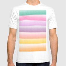 Modern hand painted multi color summer watercolor stripes pattern Mens Fitted Tee MEDIUM White