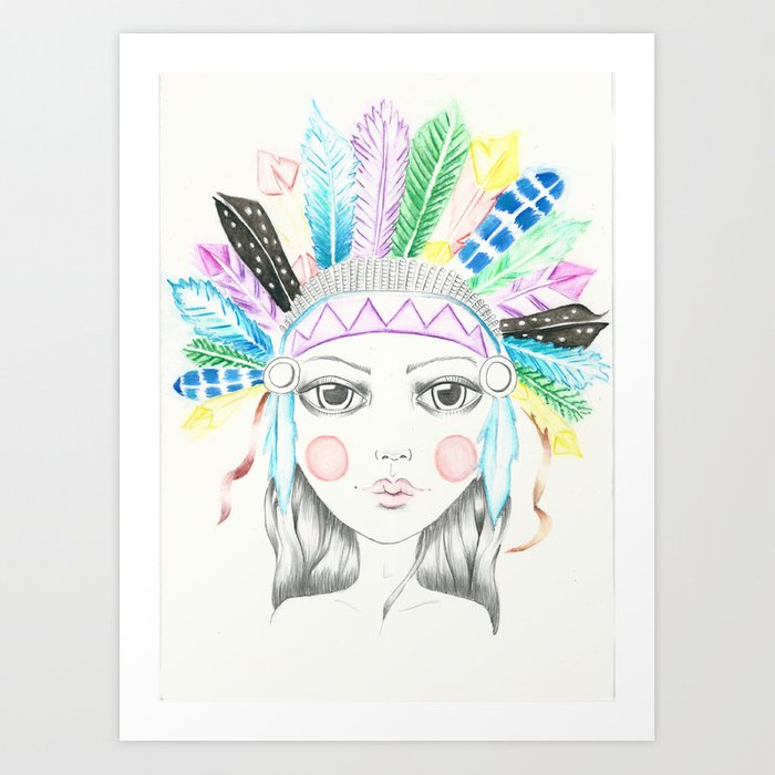 Indian Headdress Girl Art Print