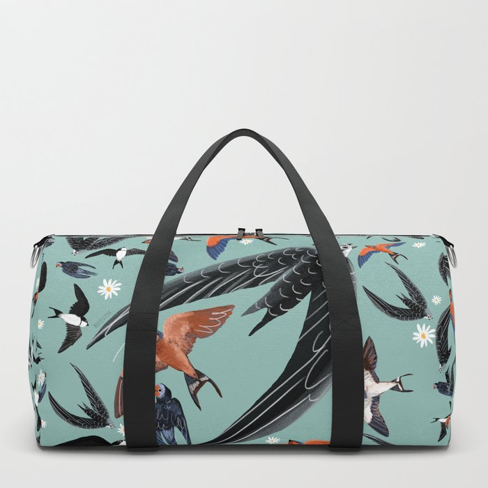 Swallows Martins and Swift pattern Turquoise Duffle Bag