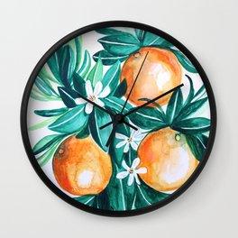 Orange flower watercolor Wall Clock