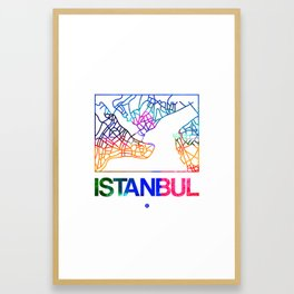 Istanbul Watercolor Street Map Framed Art Print