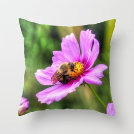 Bumble Bee on Pink Cosmos Throw Pillow