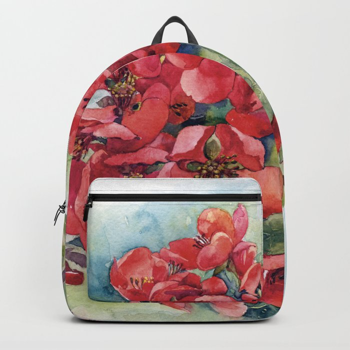 Watercolor Apple quince bloom Backpack