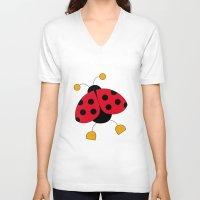 ladybug V-neck T-shirts featuring Ladybug by Daniela Alvisi