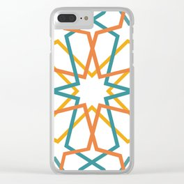 Orange Yellow Turquoise Geometric Tile Pattern Clear iPhone Case