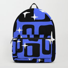 Retro Mid Century Modern Abstract Pattern 581 Black and Blue Backpack