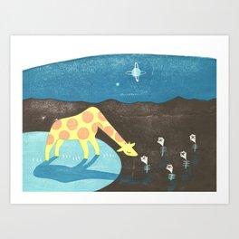Lonesome Giraffe Art Print