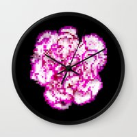 8bit Wall Clocks featuring 8BIT flower by Alfredo Lietor