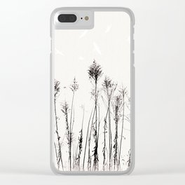 Dried Tall Plants and Flying White Birds Clear iPhone Case