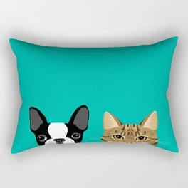 Boston Terrier & Tabby Rectangular Pillow