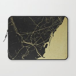 Barcelona Black and Gold Map Laptop Sleeve
