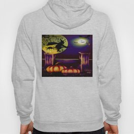 Halloween Witch Moon And Bats Hoody