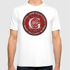 Joshua 24:15 - (Silver on Red) Monogram G White MEDIUM Mens Fitted Tee