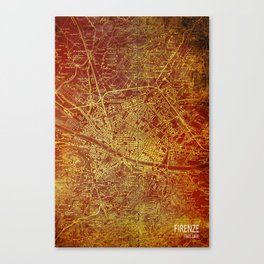 Firenze old map, Florence antique Canvas Print