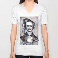 edgar allan poe V-neck T-shirts featuring Edgar Allan Poe by JsuauG