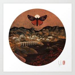 Cinnabar Moth Samurai Sunset Art Print