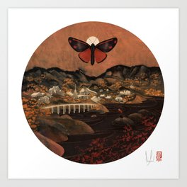 Cinnabar Moth Samurai Sunset Art Print