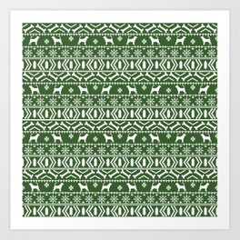 Bloodhound fair isle christmas sweater green and white minimal dog silhouette holiday gifts Art Print