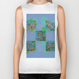 Koi Fish Pop Art collage with original paintings Biker Tank