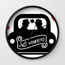 Just Married Groom and Groom Gay Marriage Wall Clock