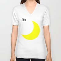 sun and moon V-neck T-shirts featuring SUN by try2benice