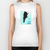 political Biker Tanks featuring political map of Argentina country with flag by tony tudor
