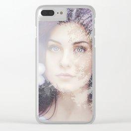 Portrait woman double exposure Clear iPhone Case