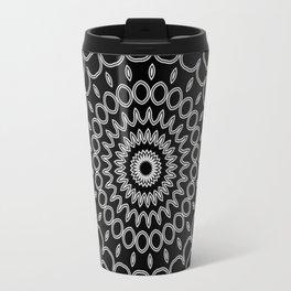 Mandala Fractal in Black and White Travel Mug