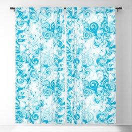 Fresh Splash & Swirl Pattern  |  Beach Blue Blackout Curtain