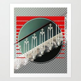 Stairway - red graphic Art Print