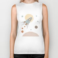 spaceship Biker Tanks featuring spaceship collage by flying bathtub