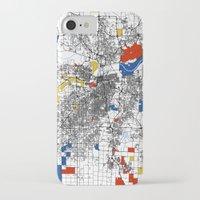 kansas city iPhone & iPod Cases featuring Kansas city mondrian map by Mondrian Maps