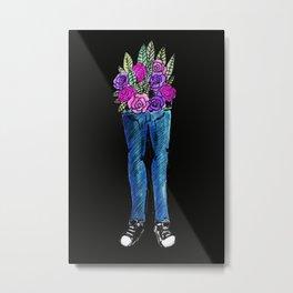 jeans floral Metal Print