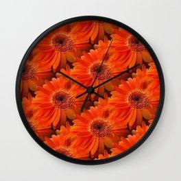 daisy pattern orange Wall Clock