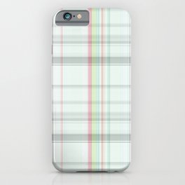 Country chic blush pink pastel green plaid iPhone Case