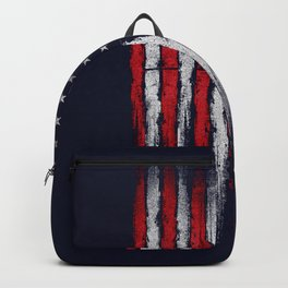 Red & white American flag on Navy ink Backpack