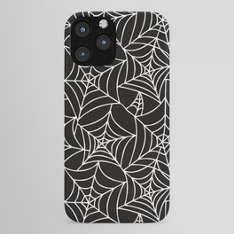 Gothic Halloween - white spider webs on black background iPhone Case