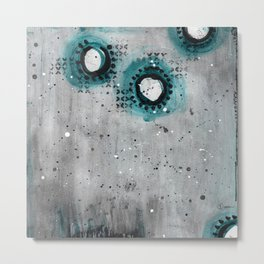 Charcoal Circles Metal Print