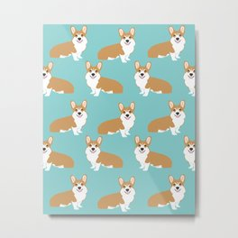 Welsh Corgi cute pattern mint corgi puppy funny dog person gifts for the corgi owner must haves  Metal Print