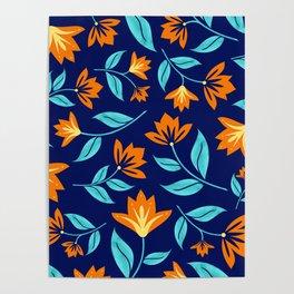 Modern Orange Blossom Floral Print Poster