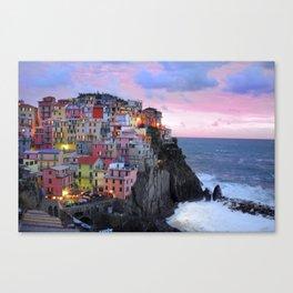 Cinque Terre Sunset, Manarola Italy, Italian Village so0001 Canvas Print