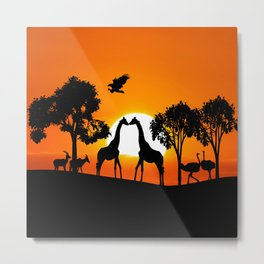 Giraffe silhouettes at sunset Metal Print