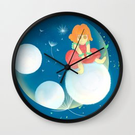 Dandelion strawberry Wall Clock