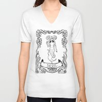 devil V-neck T-shirts featuring Devil by Sophie Jewel